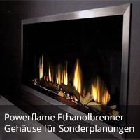 Powerflame Brenner und Sonderkamingehäuse